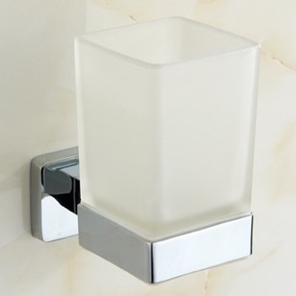 Chrome Wall Mounted Frosted Glass Toothbrush Holder Nameeks NCB18